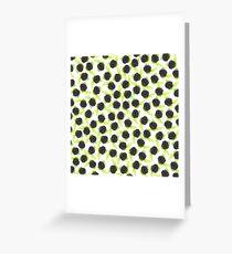 Black and green cute raspberries pattern Greeting Card