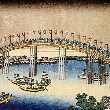 'Tenma Bridge' by Katsushika Hokusai (Reproduction) by RozAbellera