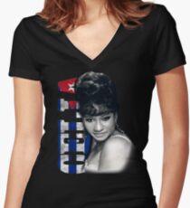 Celia Cruz Cuba Flag Women's Fitted V-Neck T-Shirt