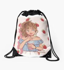 strawberry girl Drawstring Bag