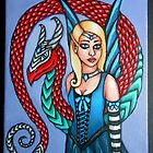 Fairy with Dragon painting by Shellaqua