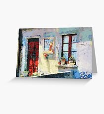 Catanzaro: door, saintly edicule and window Greeting Card