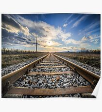 Train tracks and sunset Poster