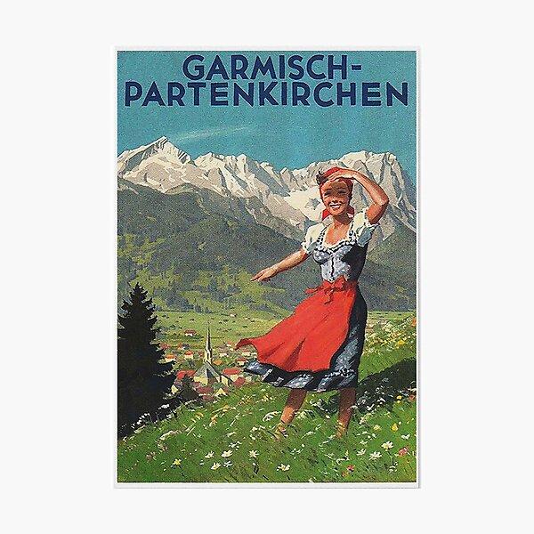 Garmisch Partenkirchen... vintage tourist poster Photographic Print