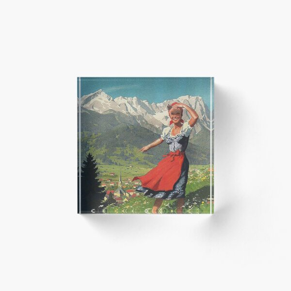 Garmisch Partenkirchen... vintage tourist poster Acrylic Block