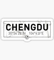 The longitude and latitude of Chengdu Sticker