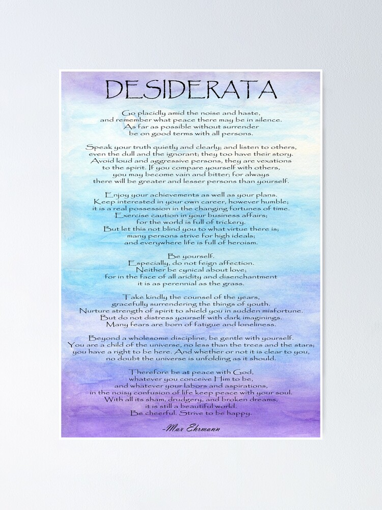 Desiderata Poem Inspirational Motivation Quote Determination Poster Blue Print