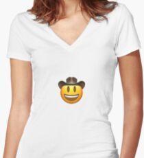 Cowboy Emoji Shirt mit V-Ausschnitt