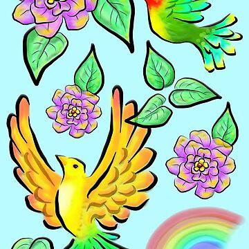 Birds Flowers and Rainbows Doodle Pattern by BluedarkArt