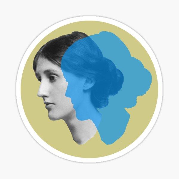 Virginia Woolf portrait - green and blue Sticker