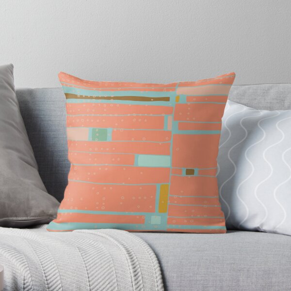 Peach + Dots Geo Grid Throw Pillow