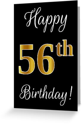 Elegant Faux Gold Look Number Happy 56th Birthday Black Background