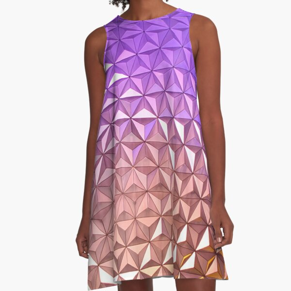 Spaceship Earth at Night in Epcot A-Line Dress