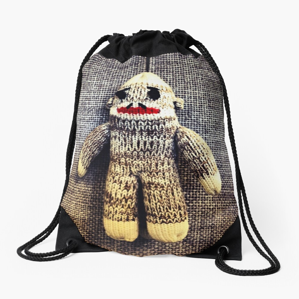 Sock Monkey Drawstring Bag