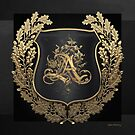Vintage Gold AA Monogram on Black Shield with Gold Oak Wreath over Black Canvas by Serge Averbukh