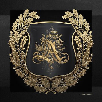 Vintage Gold AA Monogram on Black Shield with Gold Oak Wreath over Black Canvas by Captain7