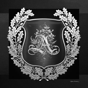 Vintage Silver AA Monogram on Black Shield with Silver Oak Wreath over Black Canvas by Captain7