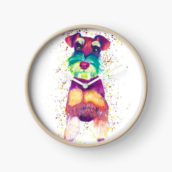 Colorful Schnauzer Dog Clock