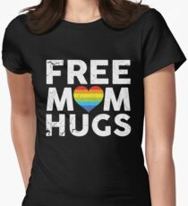 Free Mom Hugs Rainbow Heart LGBT Supports Shirt Women's Fitted T-Shirt