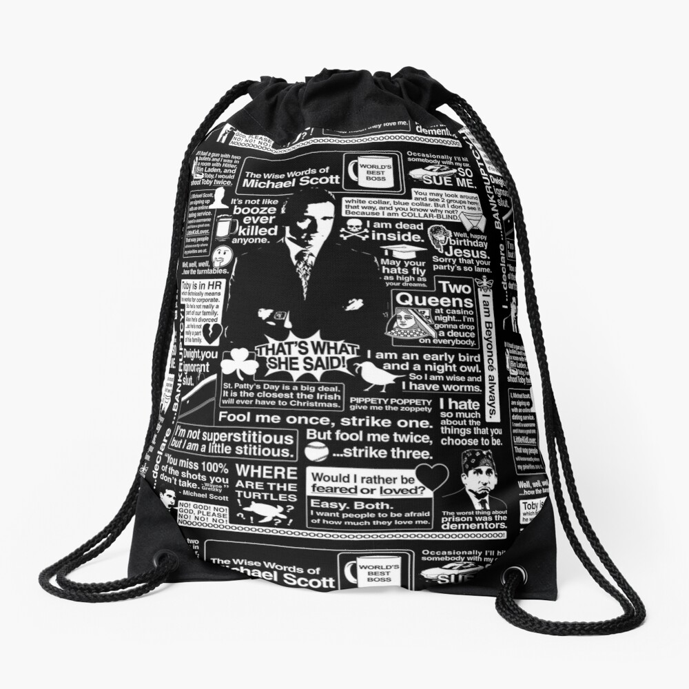 The Wise Words of Michael Scott Drawstring Bag