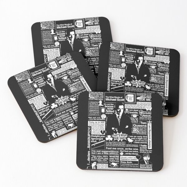 The Wise Words of Michael Scott Coasters (Set of 4)