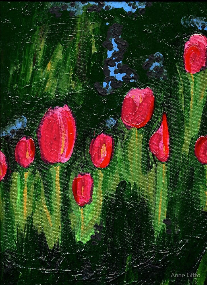 Tulips from the Avian Estates ABSTRACT by Anne Gitto