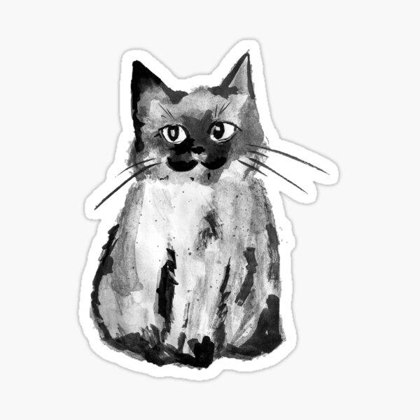 Smol Kitten - Ink and Pencil Cat  Sticker