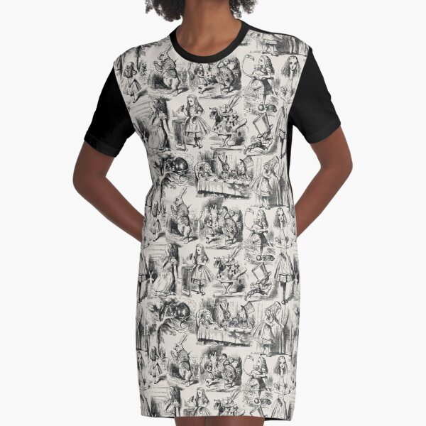 Alice in Wonderland | Toile de Jouy | Toile Pattern | Beige and Black | Vintage Alice | Graphic T-Shirt Dress