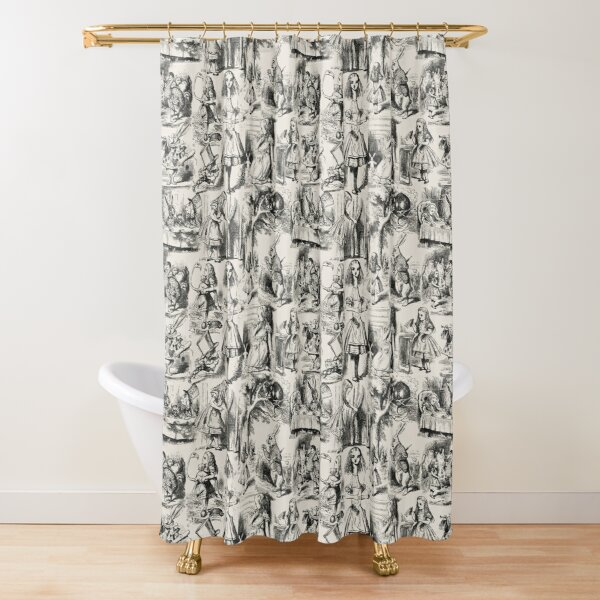 Alice in Wonderland | Toile de Jouy | Toile Pattern | Beige and Black | Vintage Alice | Shower Curtain