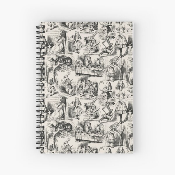 Alice in Wonderland | Toile de Jouy | Toile Pattern | Beige and Black | Vintage Alice | Spiral Notebook