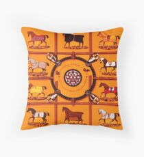 Horse Country Chic Hermes Fabric Collection Throw Pillow