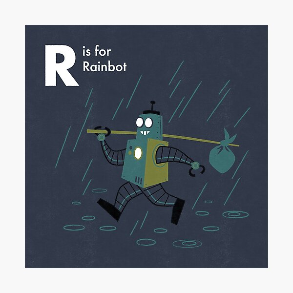 R is for Rainbot Photographic Print