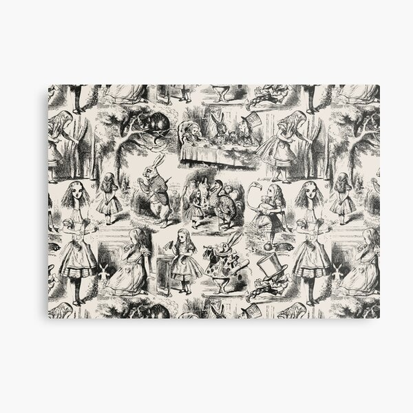 Alice in Wonderland | Toile de Jouy | Toile Pattern | Beige and Black | Vintage Alice | Metal Print