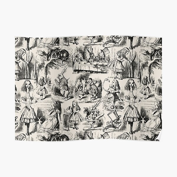 Alice in Wonderland | Toile de Jouy | Toile Pattern | Beige and Black | Vintage Alice | Poster