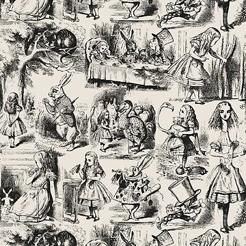 Alice in Wonderland | Toile de Jouy | Beige and Black by EclecticAtHeART