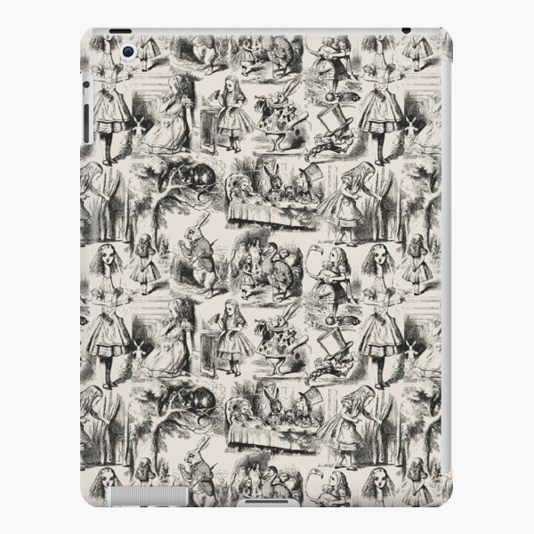 Alice in Wonderland | Toile de Jouy | Toile Pattern | Beige and Black | Vintage Alice | iPad Snap Case