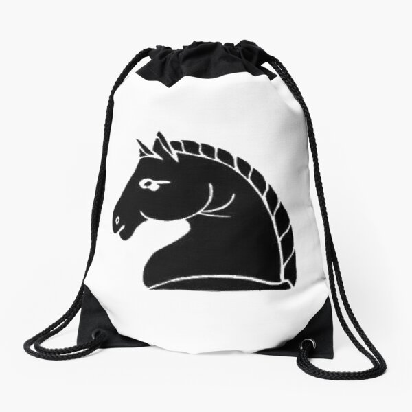 Chess, Black knight chess piece. Letter, sign, emblem, type, mark, badge, token, designation, #BlackKnight, #chess, #piece, #Letter, #sign, #emblem, #type, #mark, #badge Drawstring Bag