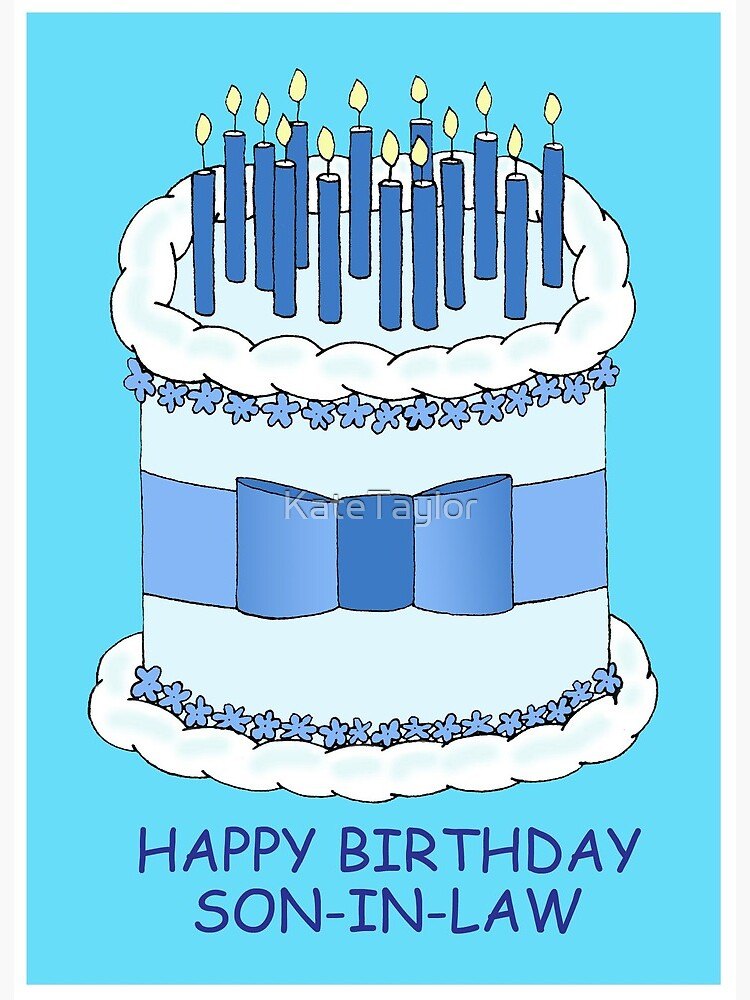 Admirable Son In Law Happy Birthday Cartoon Cake With Candles Art Board Funny Birthday Cards Online Bapapcheapnameinfo