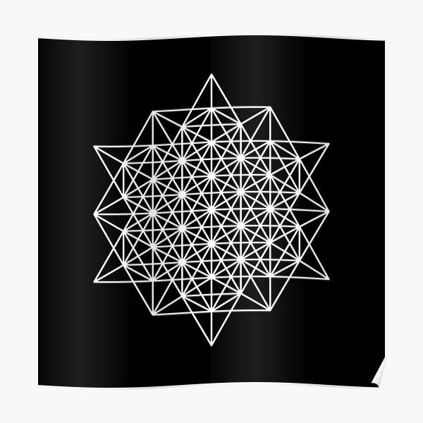 64 Star tetrahedron on black Poster