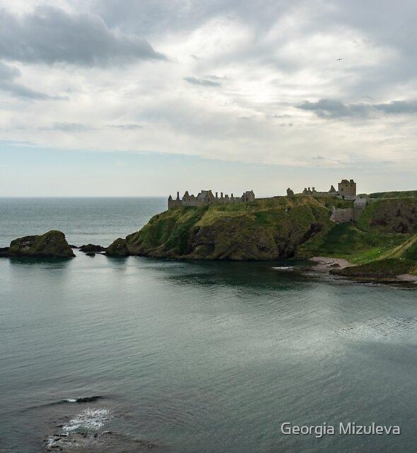 Melancholy Dunnottar Ruins and Castle Haven Bay  by Georgia Mizuleva