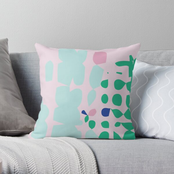 Aqua Pastel Abstract shapes Throw Pillow