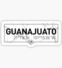 The longitude and latitude of Guanajuato Sticker