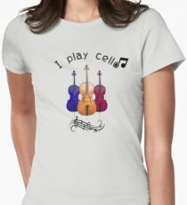 Music quote I play cello Women's Fitted T-Shirt