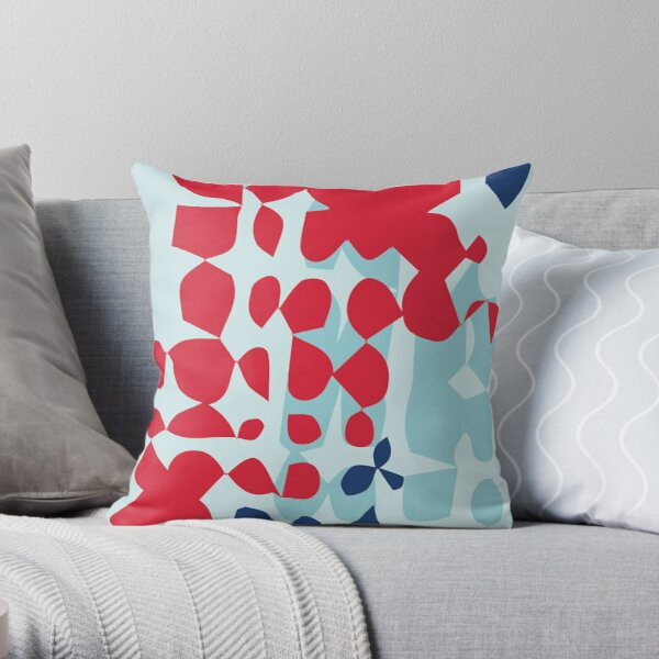 Red + Blue Abstract Shapes Throw Pillow