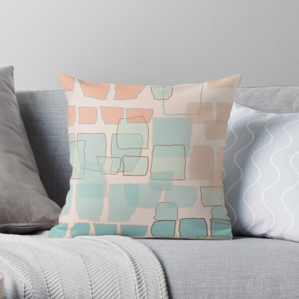 Brick Wall Blush Throw Pillow