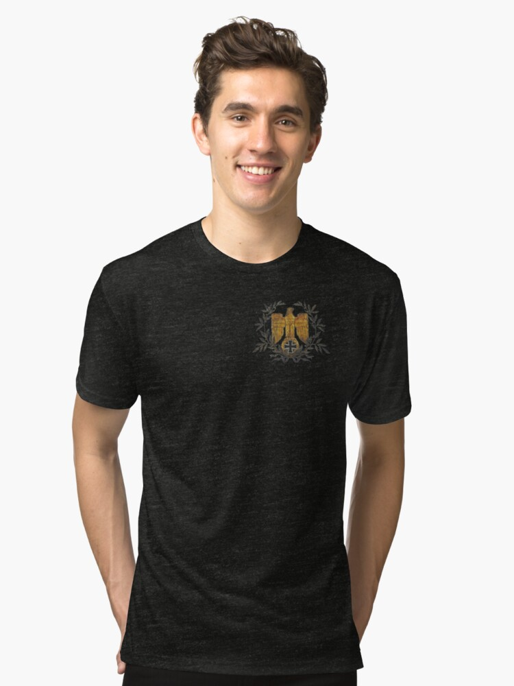 Alternate view of Gold Eagle with Iron Cross  Tri-blend T-Shirt