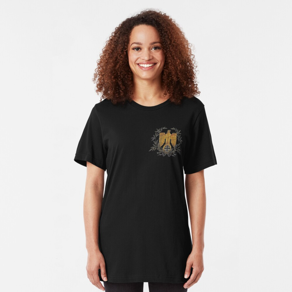 Gold Eagle with Iron Cross  Slim Fit T-Shirt