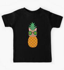 Lustige jamaikanische Ananas-Katze Kinder T-Shirt