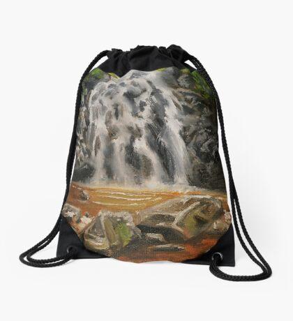 Waterfall Oil Painting Drawstring Bag