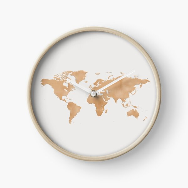 Grey and Copper World Map Clock